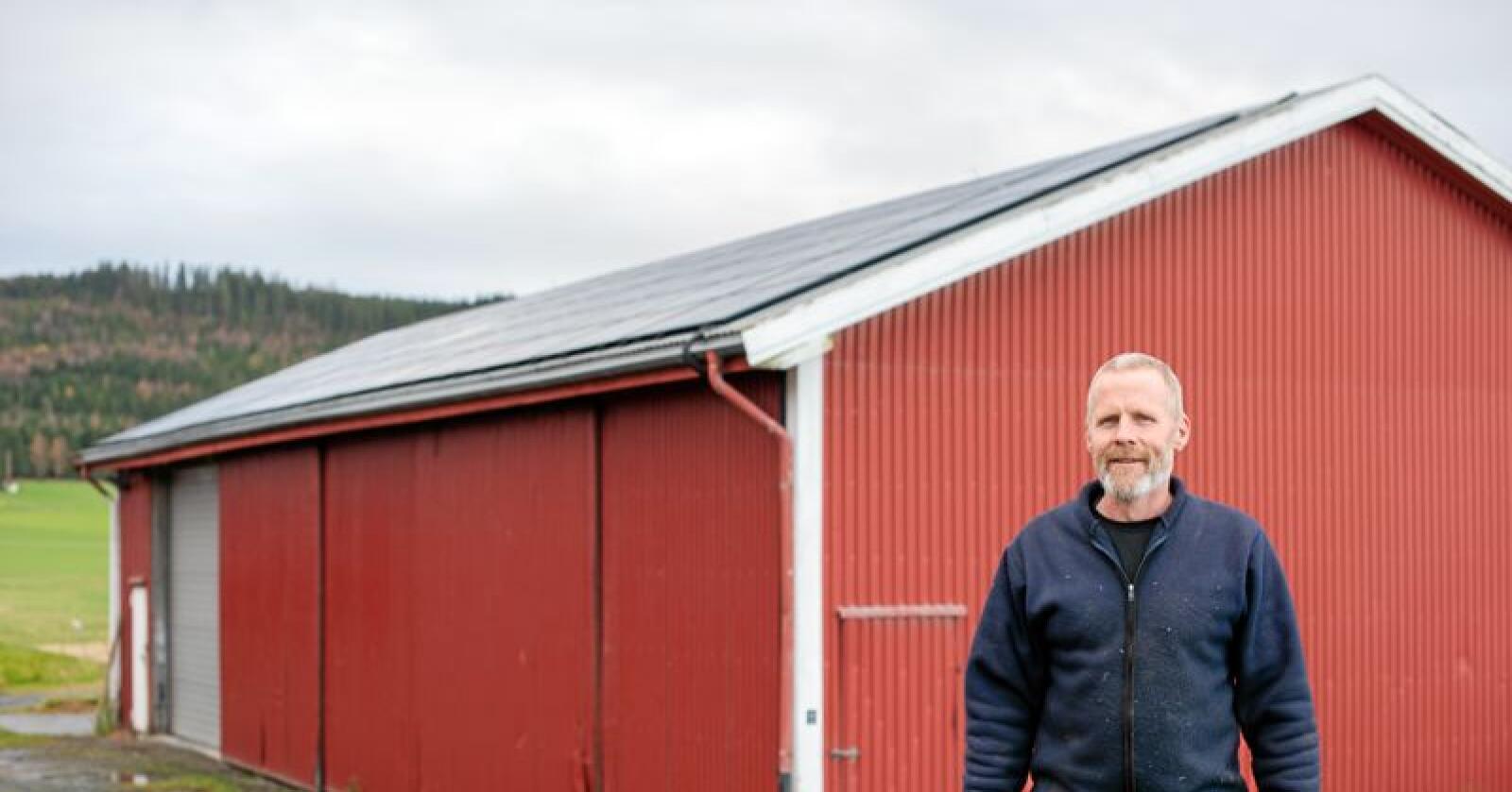 Avgjørende støtte: Gårdbruker Odd Anders Amdahl fikk dekket nesten en halv million kroner da han la 400 kvadratmeter med solcellepaneler på takene sine. Han sier det var hans miljøbevisste onkel som fikk han til å investere i grønn energi. Solcelleanlegget han skal være i stand til å levere omtrent 53.000 kWh årlig. Alle foto: Håvard Zeiner