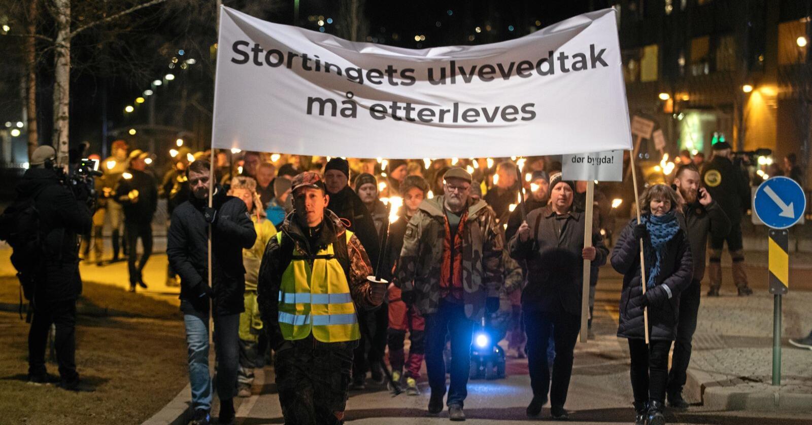 Rundt 1500 mennesker deltok i demonstrasjonen mot stopp i ulvejakta onsdag kveld. Alle foto: Vidar Sandnes