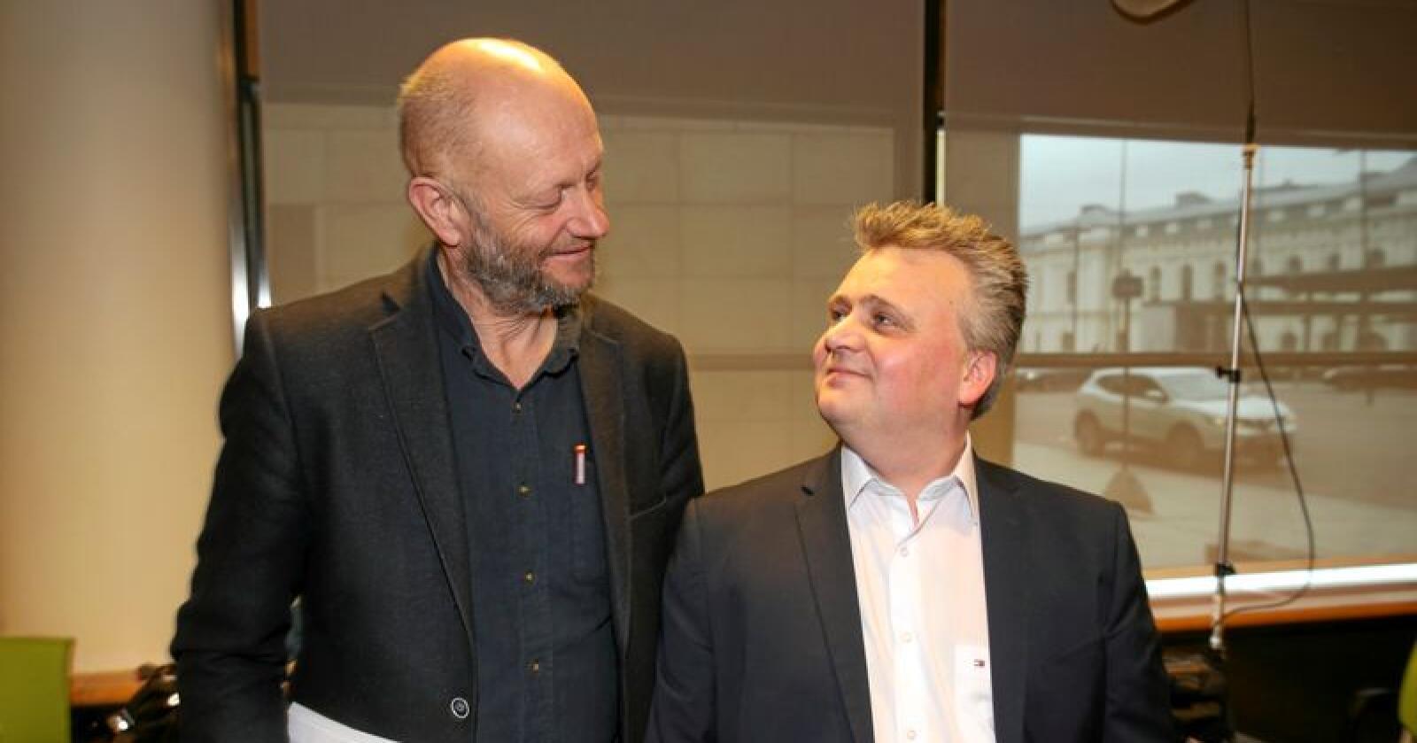Sammen for EØS: Rekker forbundsleder Jørn Eggum direktør Stein Lier-Hansen til skuldrene når det gjelder strategisk arbeid for medlemmenes interesser? Foto: Vidar Ruud, NTB/scanpix