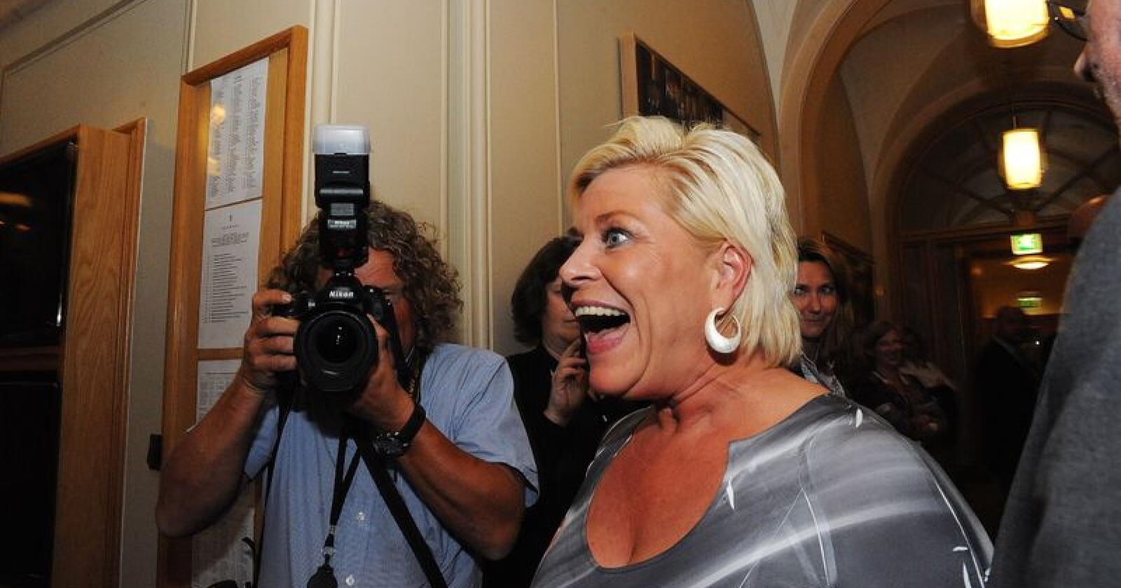 Kunne juble: Siv Jensen feiret valgseieren i 2013, etter over fem år, blir nå Frp en del av en flertallsregjering. Foto: Siri Juell Rasmussen