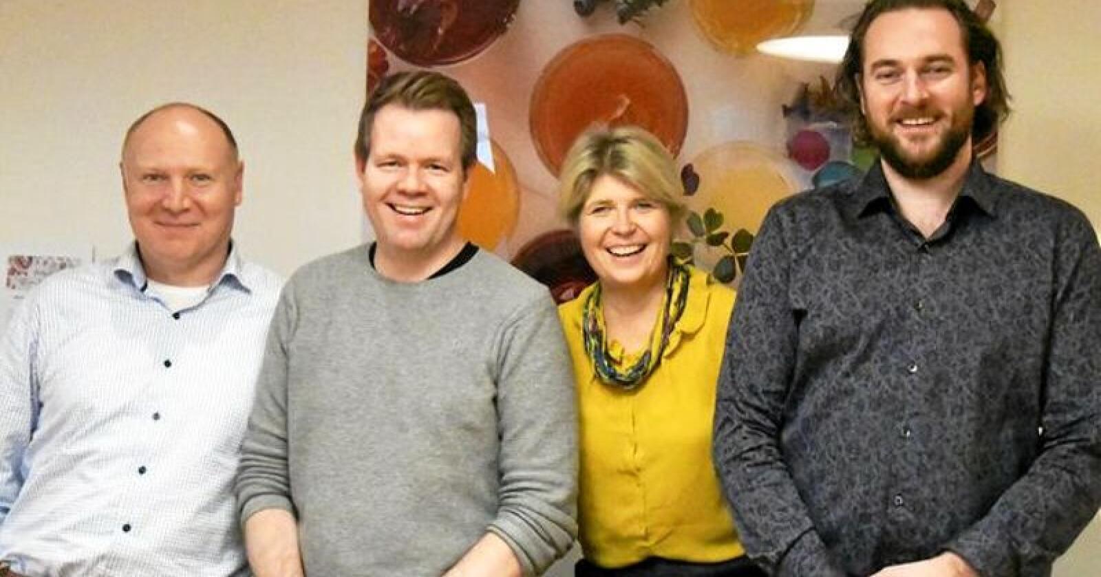 Knut Erik Bauer (fra venstre), Lars Haug, Nina Sundqvist og Petter Børgan. Foto: Matmerk