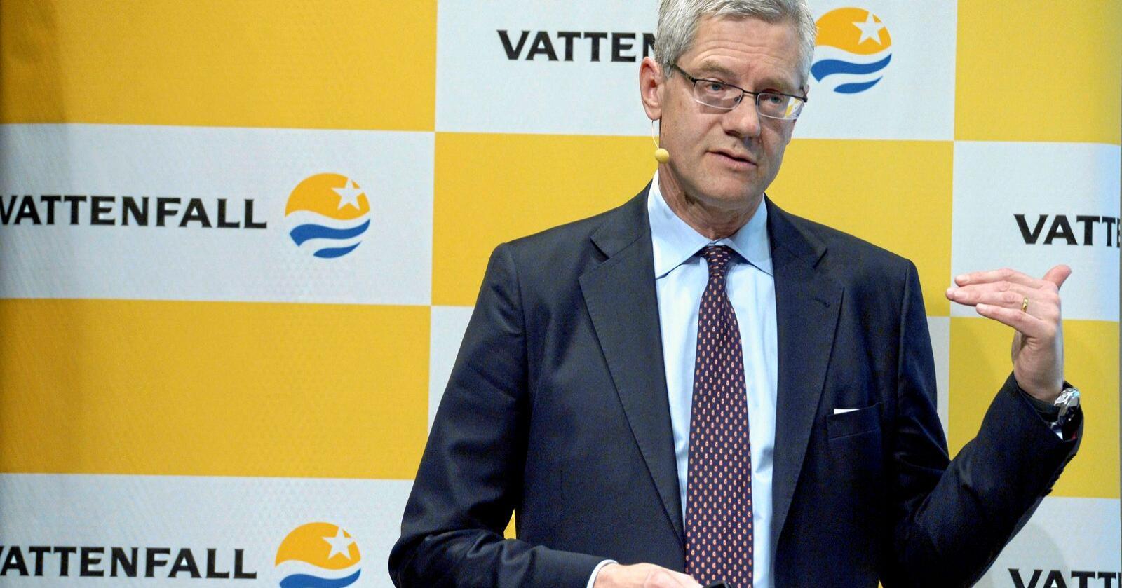 Håp: Svenske Vattenfall, her ved Magnus Hall, VD och koncernchef, har aldri vært nærmere en konsesjon for å bygge den private eksportkabelen NorthConnect. Foto: Janerik Henriksson / TT / NTB scanpix