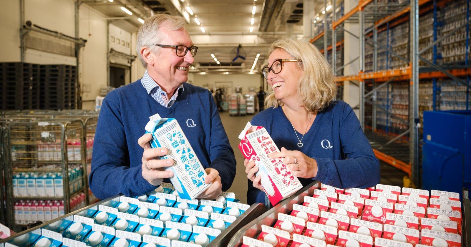 Slutt å tåkelegg hvor superdominant Tine faktisk er, skriver styreleder Kristine Aasheim i Q-meieriene. Her sammen med adm direktør Bent Myrdahl. (Foto: Q-meieriene)