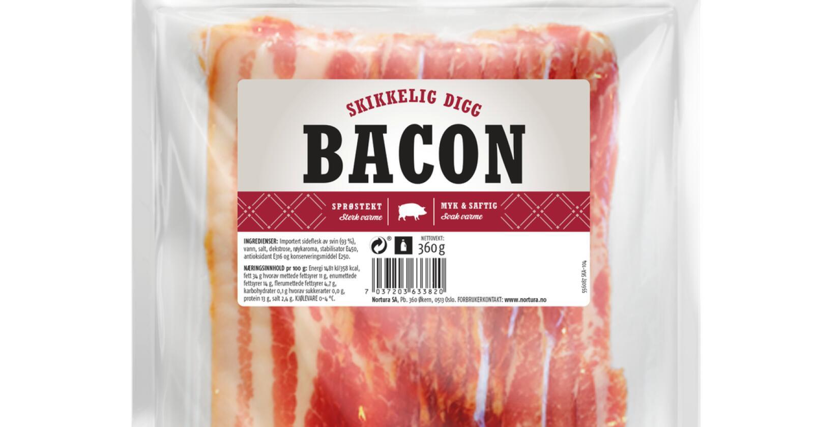 Nortura utvider tilbakekalling av baconet med navn «Skikkelig digg bacon» til å gjelde flere holdbarhetsdatoer. Foto: Nortura SA