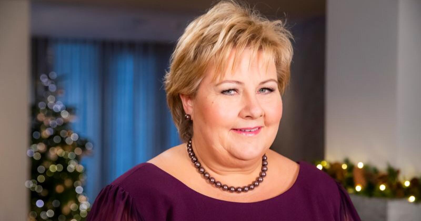 Statsminister Erna Solberg (H) holdt nyttårstalen 2018 i statsministerboligen. Foto: Håkon Mosvold Larsen / NTB scanpix