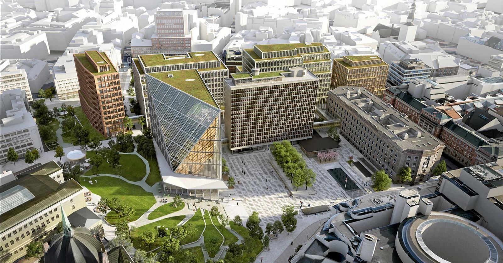 36,5 milliarder: Så mye koster planlagt nytt regjeringskvartal. Illustrasjon: Team Urbis/Statsbygg