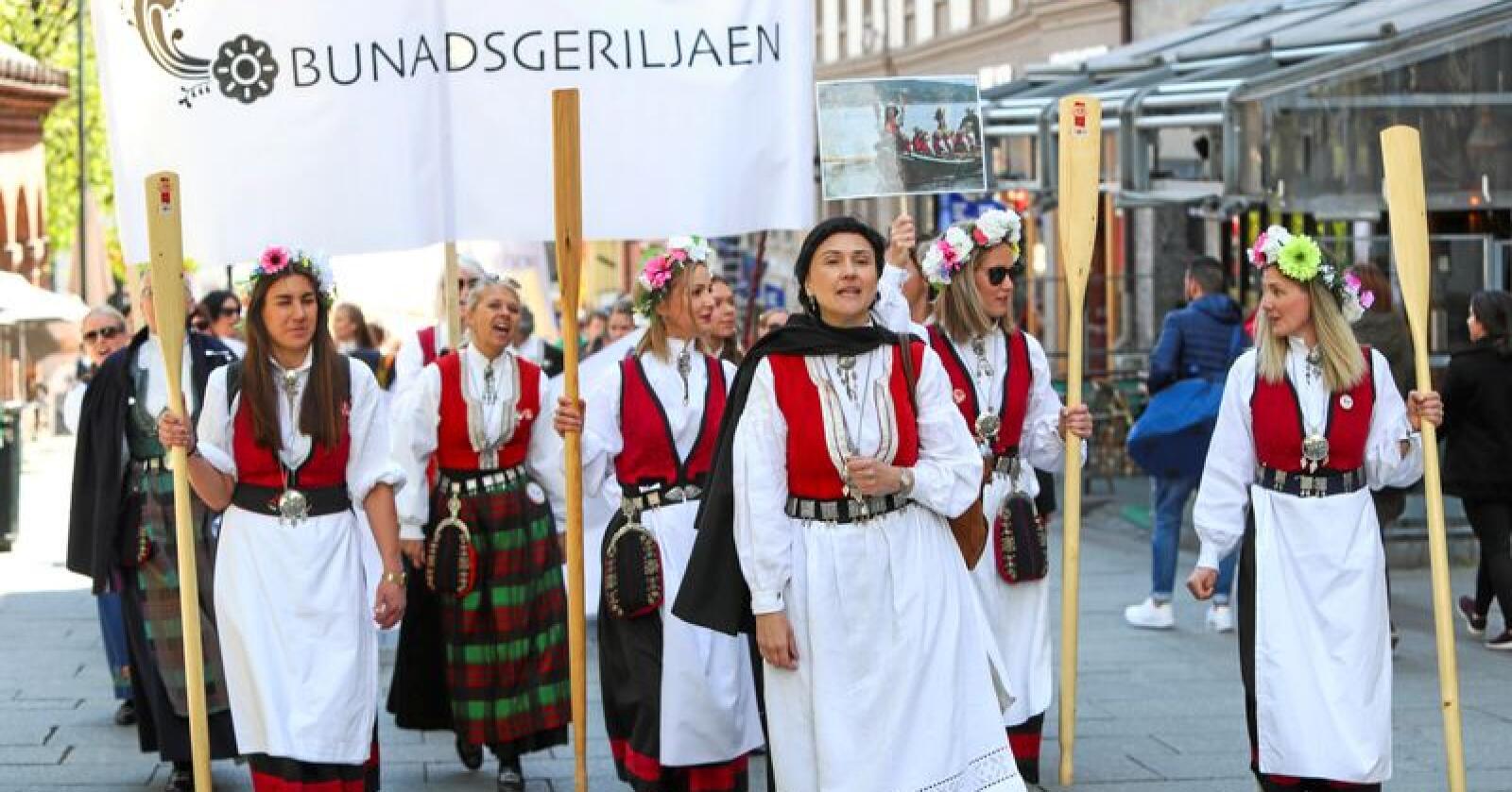 Gerilja: Bunadsgeriljaen, som demonstrerer mot kutt og nedleggelser i distriktene, har spredd seg  til hele landet. Her fra en demonstrasjon i Oslo. Foto: Ryan Kelly/NTB scanpix