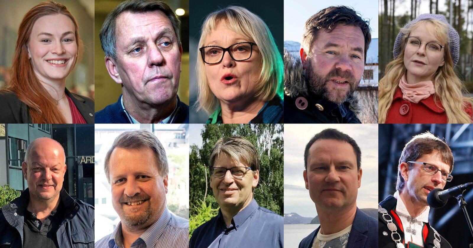 8 av 10 ordførere støtter bondeopprøret i en kartlegging Nationen har gjort. Øvre rekke fra venstre: Viel Jaren Heitmann (Sp), ordfører i Rollag, Gunnar Wilhelmsen, ordfører i Tromsø (Ap), Lena Landsverk Sande, ordfører i Vanylven (V), Hans Petter Torbjørnsen, ordfører i Ulvik (Ap) og Mona Vauger, ordfører i Hvaler (Ap). Andre rekke, fra venstre: Hilmar Høl, ordfører i Årdal (Ap), Torbjørn Klungland, ordfører i Flekkefjord (Frp), Ola Tore Dokken, ordfører i Nordre Land (Sp), Jan Olsen, ordfører i Nordkapp (SV) og Hans-Erik Ringkjøb, ordfører i Voss (Ap). Montasje: Jarand Ullestad. Foto: NTB Scanpix, Nordre land kommune, Senterpartiet, Nationen, privat.