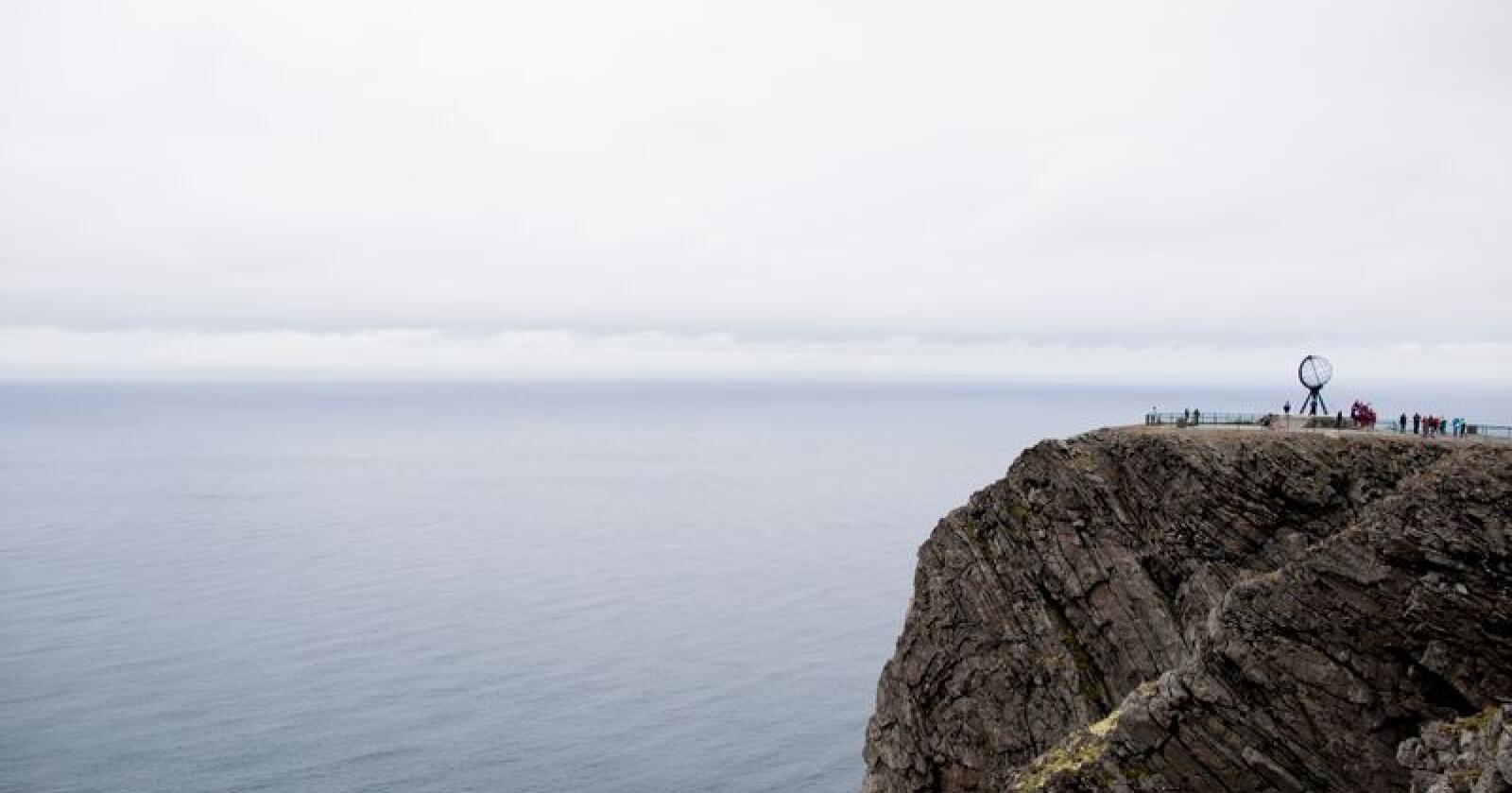 Nordkapp  20140814.Illustrasjonsbilde fra Nordkapplatået på Magerøya i Finnmark, i forbindelse med sykkelrittet Arctic Race of Norway. Nordkappklippen.Foto: Vegard Wivestad Grøtt / NTB scanpix