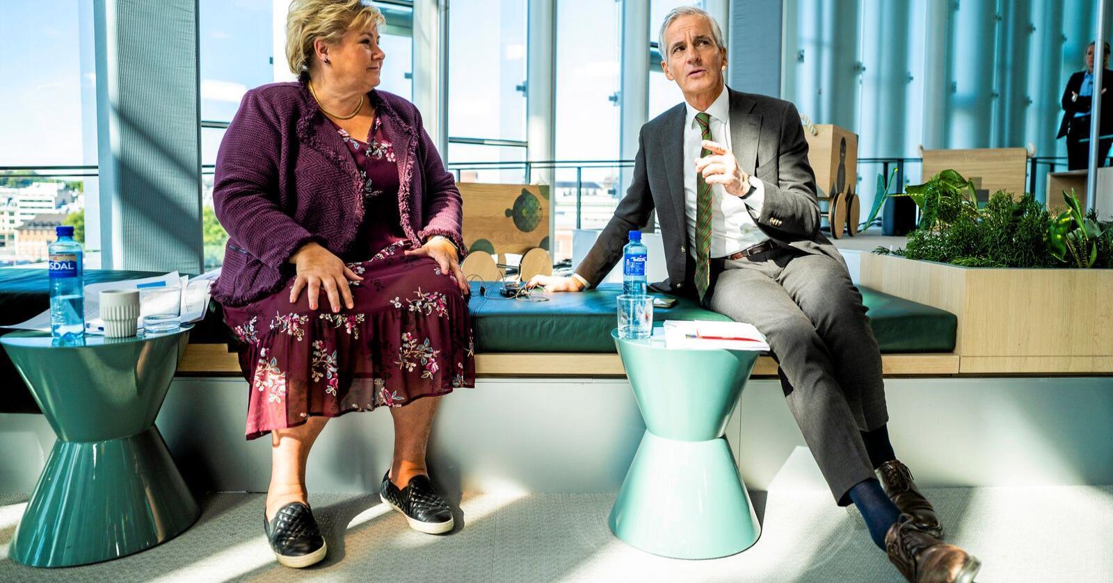 Statsminister Erna Solberg (H) og Ap-leiar Jonas Gahr Støre vil ikke leite etter handlingsrom. Det vil Sp, skriv debattantane. Foto: Håkon Mosvold Larsen / NTB