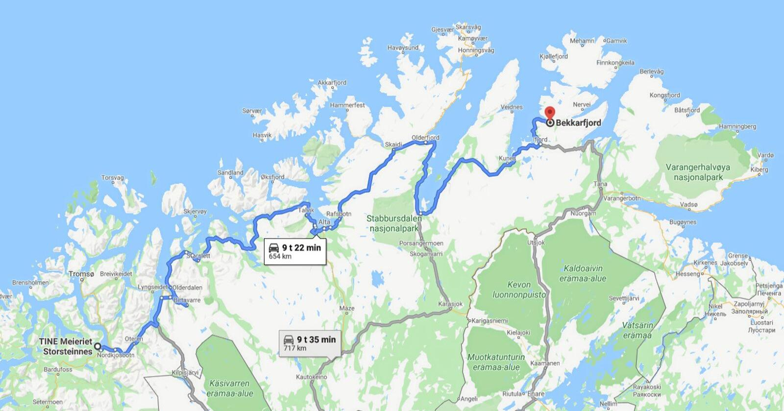 Dersom Tine-anlegga i Alta og Tana blir lagt ned vil mjølka til mellom andre Lise Kaldahl Skreddernes, leiar av Finnmark bondelag, få ein lang reiseveg. Skjermdump: Google maps