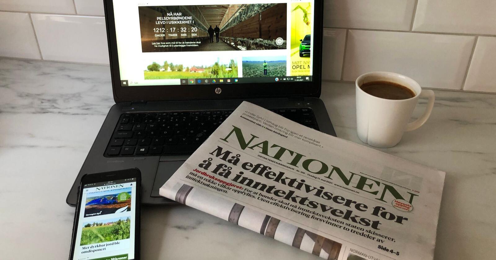 Flere digitalt: 26 prosent av Nationens abonnenter leser nå avisa digitalt, mot 1,5 prosent for fem år siden. Foto: Lars Johan Wiker