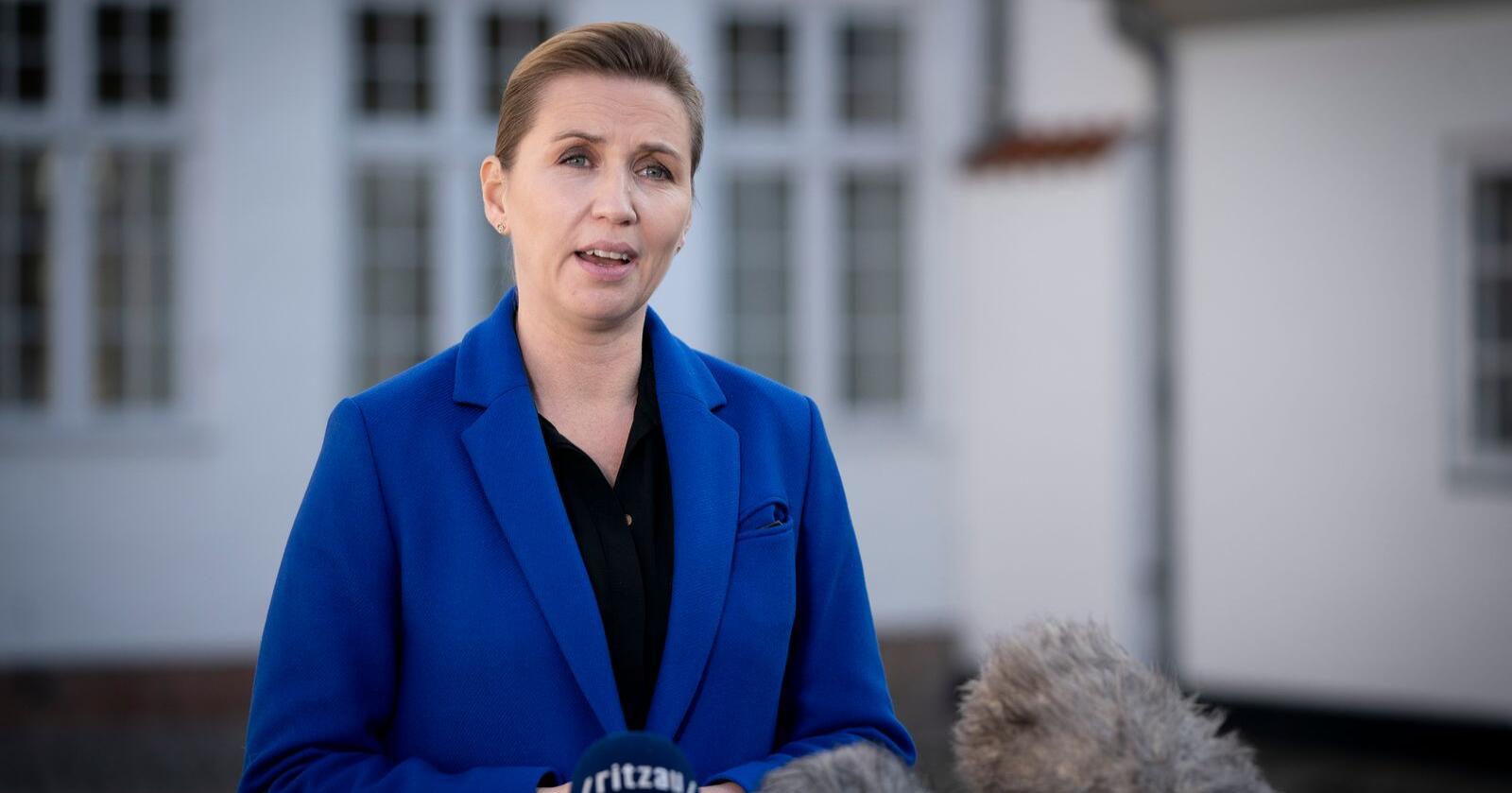 Danmarks statsminister Mette Frederiksen på en pressekonferanse tidligere i november. Foto: Liselotte Sabroe / Ritzau Scanpix via AP / NTB