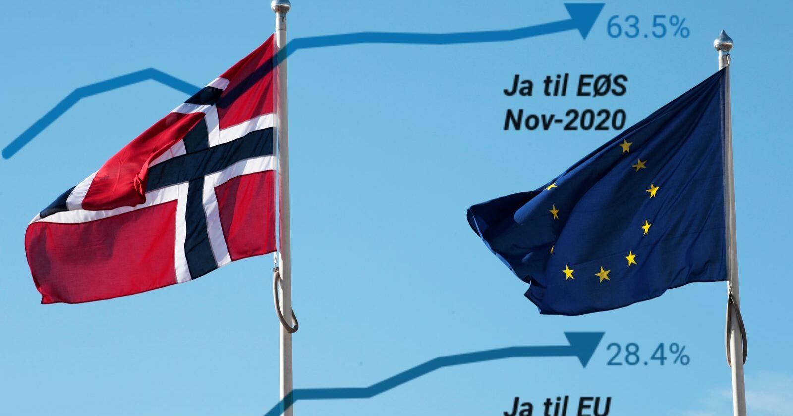 EØS-avtalen har aldri hatt så stor støtte i den norske befolkningen som nå. Motstanden mot norsk medlemskap i EU er likevel forstatt stor viser ny meningsmåling. Foto: Lise Åserud / NTB