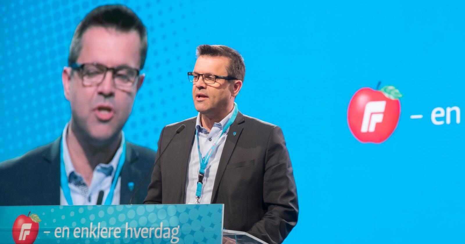 Oslo  20180429.Frank Sve på talerstolen på  landsmøte.Foto: Vidar Ruud / NTB scanpix