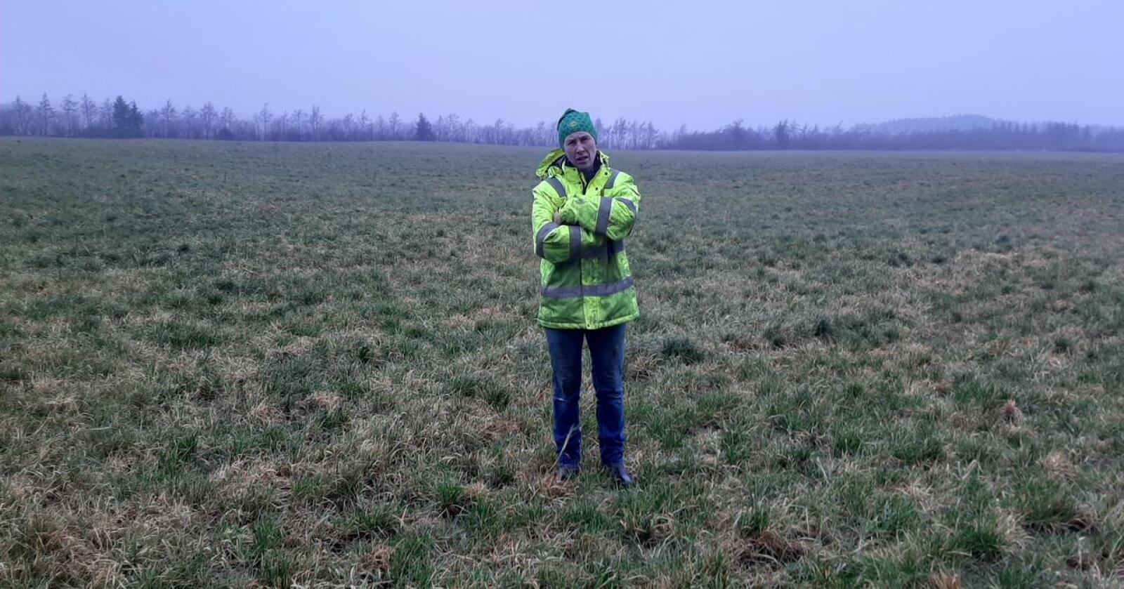 """""""Nei"""": Anne Frøyland Grødem takket nei til 150 millioner kroner fra oppkjøpere som ville sikre seg rundt 300 mål jord til utbygging av datasenter. Foto: Bjarne Bekkeheien Aase."""