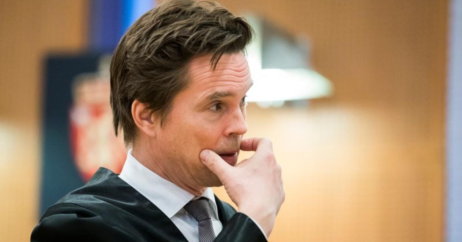Advokat Marius Dietrichson som forsvarer den Nortura-ansatte som er siktet av Økokrim for grov korrupsjon. Foto: Håkon Mosvold Larsen / NTB scanpix