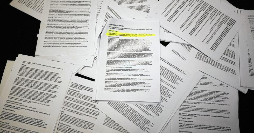 Ingen stortingsbehandling: I 2011 ble noen stortingsrepresentantene informert om EØS-regelverket som førte til NAV-skandalen. I sommerferien fikk de en e-post på over 135 sider (bildet). Regelverket ble aldri behandlet av Stortinget i plenum. Foto: Jon-Fredrik Klausen