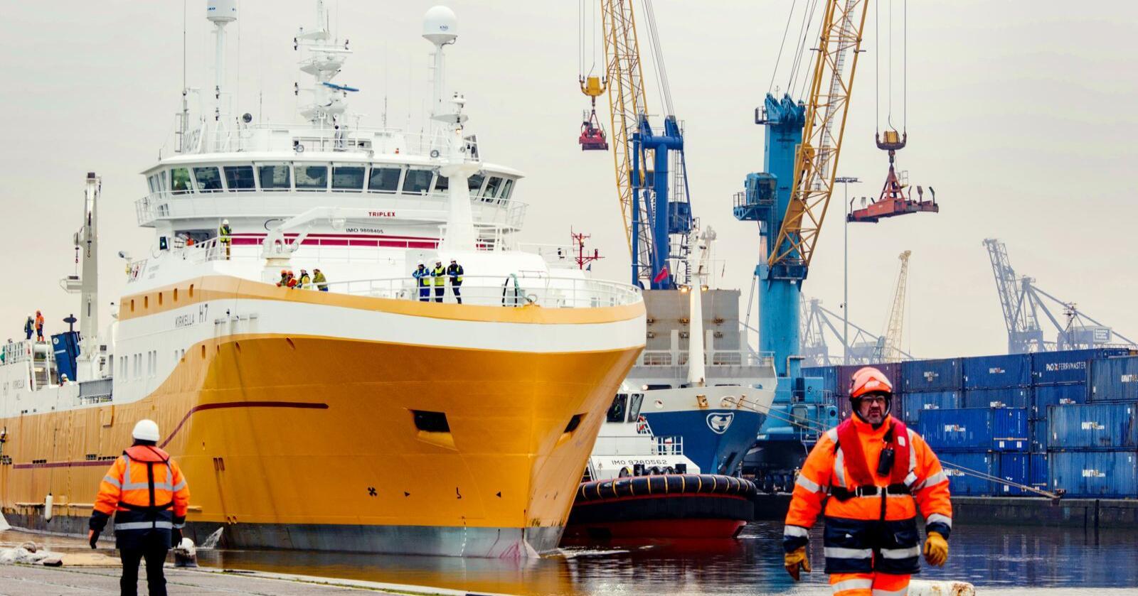 """Den britiske frysetråleren """"Kirkella"""", eid av UK Fisheries, tapte drakampen på britisk side mot skotske silde- og makrellfiskere da britene droppet fiskeriavtale med Norge. Den verdifulle pelagiske fiskekvoten kan nå være tapt for norske fiskere for lang tid, etter at norske og britiske forhandlere ble enig om å droppe en bilateral kvoteavtale for 2021. Foto: UK Fisheries"""
