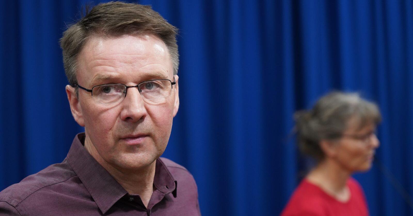 Leder Lars Petter Bartnes i Norges Bondelag under fremleggelsen av årets jordbruksavtale 30. april. Foto: Ole Berg-Rusten / NTB scanpix