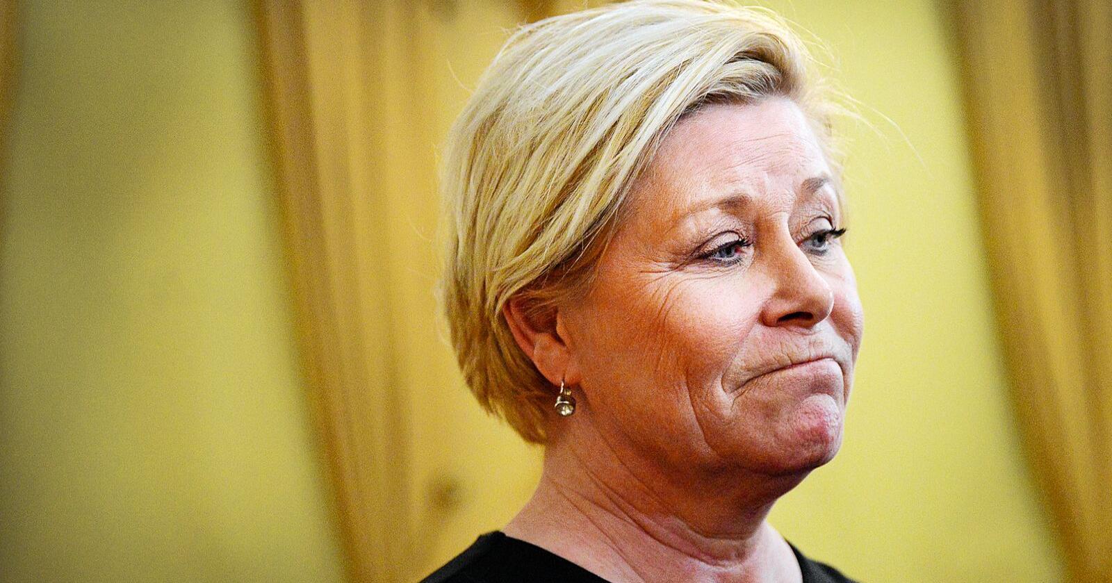 Finansminister Siv Jensen mener skatteoppkrevingen hører mer naturlig til staten. Det er ikke ordførerne enig i. Foto: Siri Juell Rasmussen