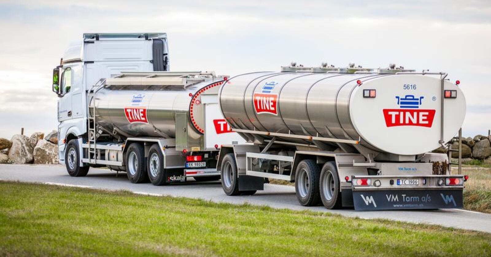 At Tine er Norges mest bærekraftige selskap, kan vanskelig dokumenteres tilstrekkelig, mener Forbrukertilsynet. Tines tankbiler er avhengig av avansert biodiesel for å nå miljømålet. Illustrasjonsfoto: Tine