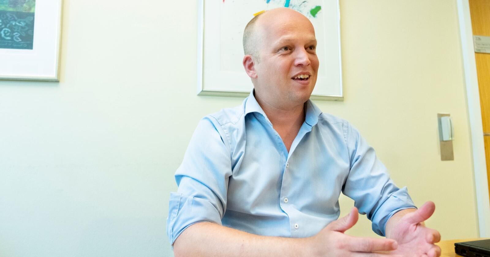 Sp-leder Trygve Slagsvold Vedum vil beholde muligheten for utslippskutt i utlandet.Foto: Fredrik Hagen / NTB