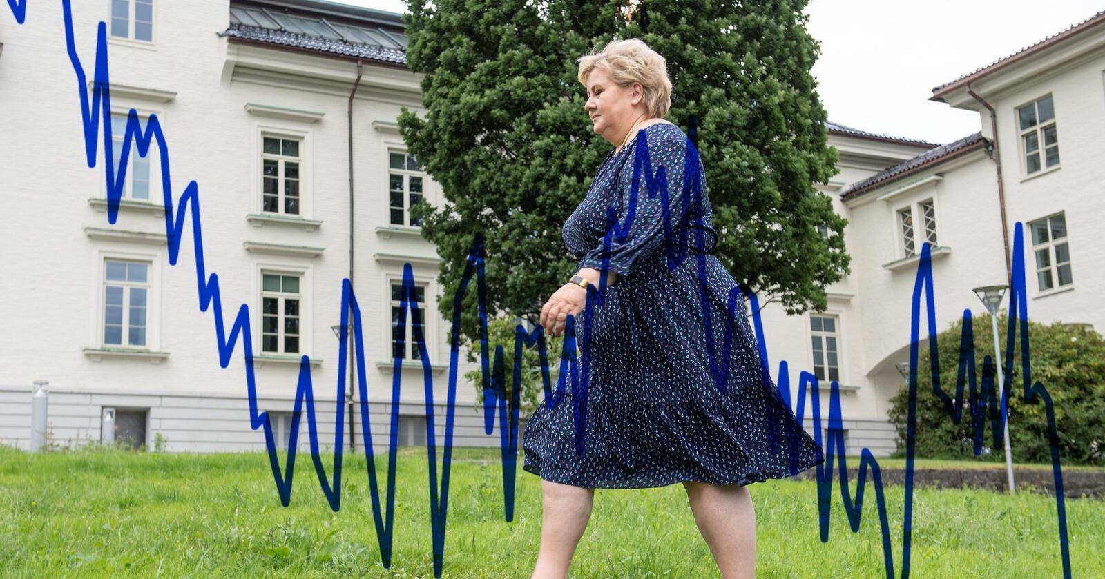 Det går ikke veien for Erna Solberg på Nationens partibarometer for juli 2021. Foto: Marit Hommedal / NTB / Illustrasjon Eskild Johansen / Nationen