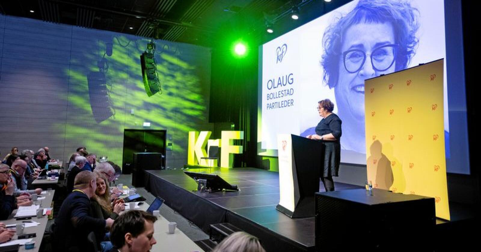 Fungerende KrF-leder Olaug Bollestad på KrFs landskonferanse på Gardermoen lørdag. Hun la spesielt vekt på gjennomslagene partiet har fått i Granavolden-erklæringen, men oppfordret samtidig til å finne sammen som parti etter en intens periode med retningsvalg i partiet. Foto: Fredrik Hagen / NTB scanpix