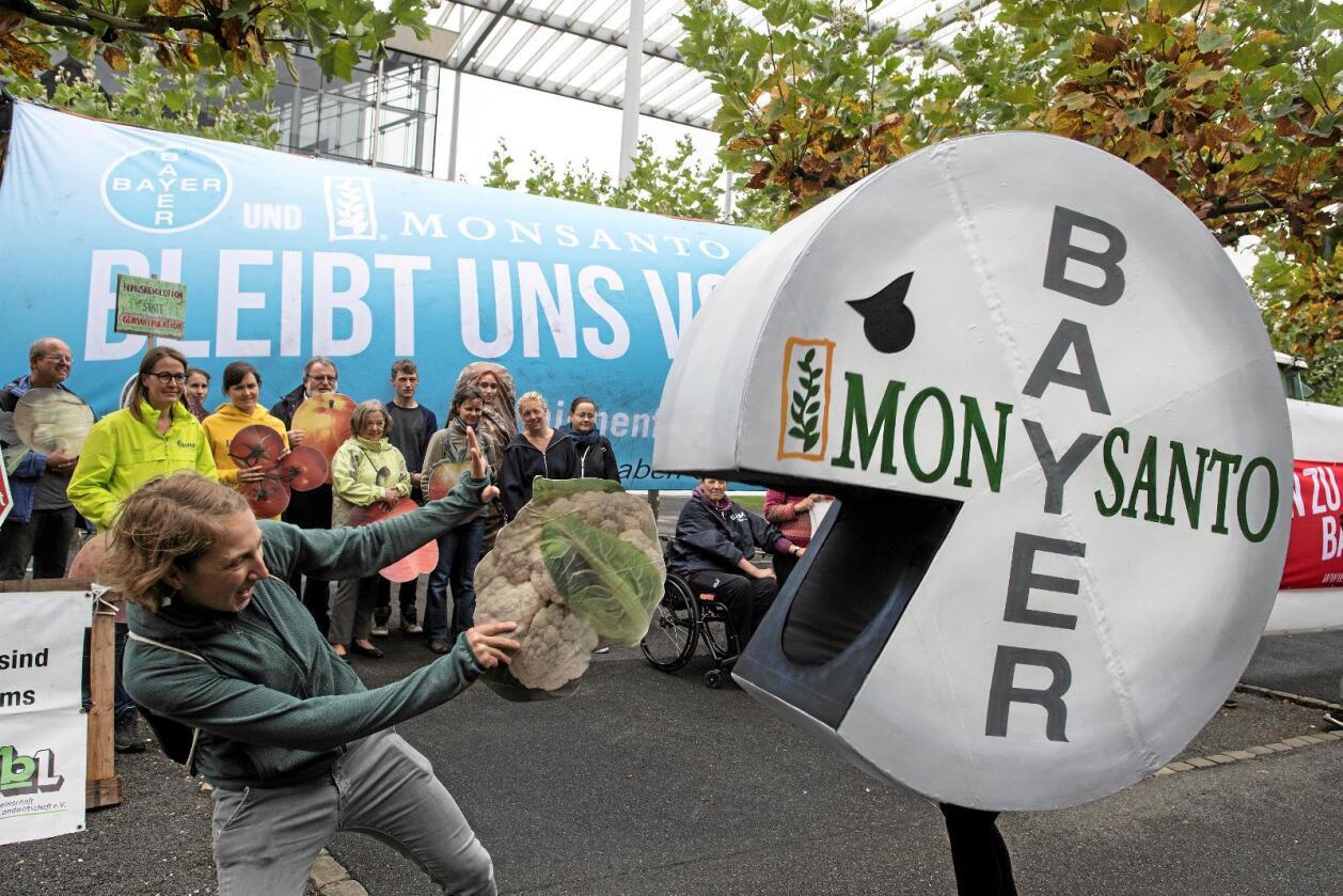 Bayers planlagte oppkjøp av Monsanto er omstridt. Her fra en demonstrasjon mot planene i den tyske byen Leverkusen tidligere i høst. Foto: Federico Gambarini/AP/NTB scanpix