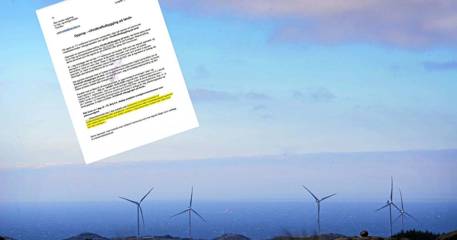 111 kommuner står bak oppropet som nå er sendt til Olje- og energiminister Tina Bru. Foto: Siri Juell Rasmussen