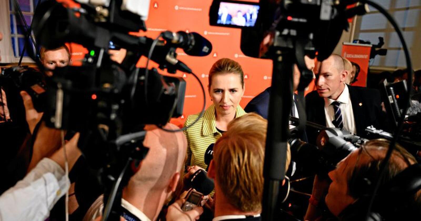 Dansk valg: Leder av Danmarks største parti Socialdemokratiet, Mette Frederiksen, er i gang med regjeringssonderinger. Foto: Philip Davali/Ritzau Scanpix via AP, NTB scanpix