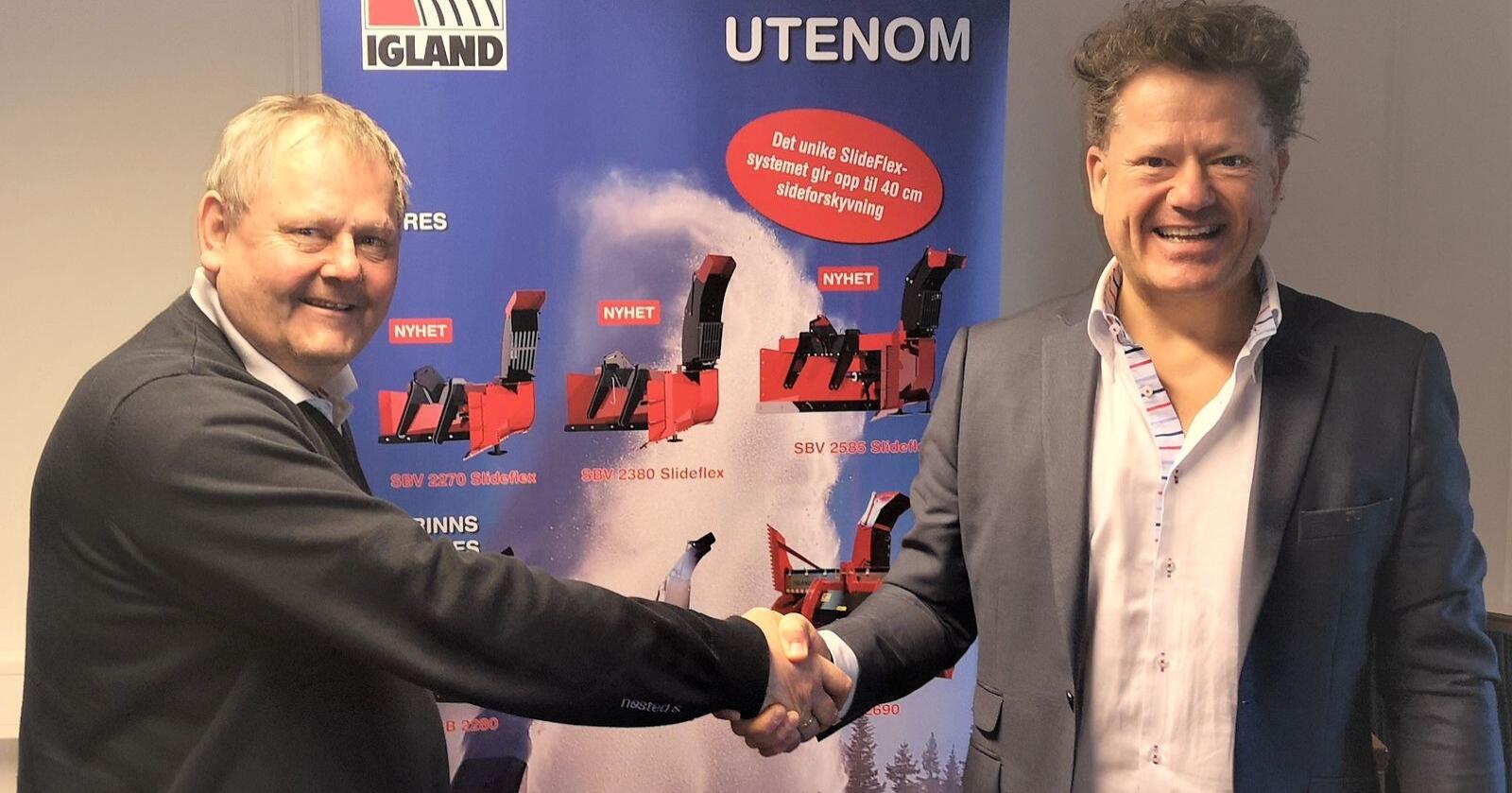 Salgs- og produktsjef for Igland i Nøsted&, Olaf Lindtveit (til venstre) og administrerende direktør i A-K maskiner, Erik Grefberg (til høyre), er fornøyde med at A-K nå blir eksklusiv fohandler av Iglands produktportefølje fra Nøsted&