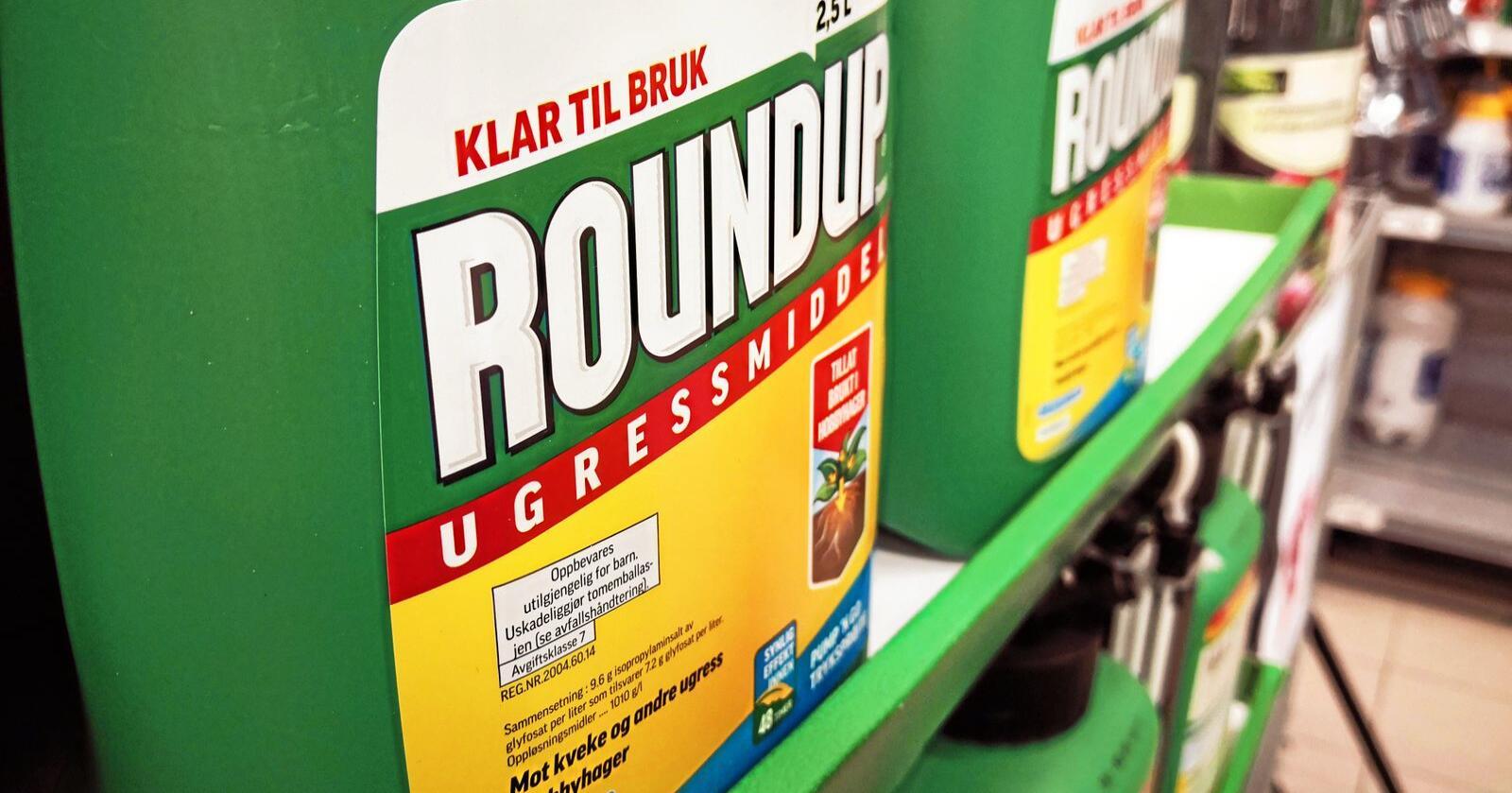 Glyfosat finnes i blant annet ugressmiddelet Roundup. Foto: Jon-Fredrik Bækgaard Klausen