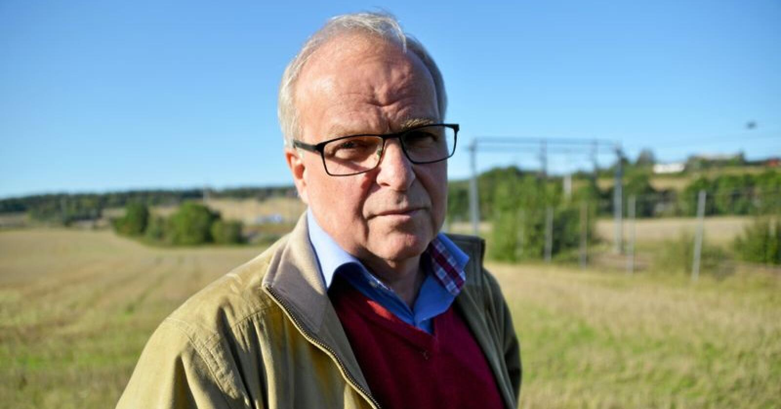 Øyvind Kjølberg, leder i Jordvern Oslo og Akershus, kjemper imot utbygging på Delijordet. Foto: Tone C. S. Thorgrimsen