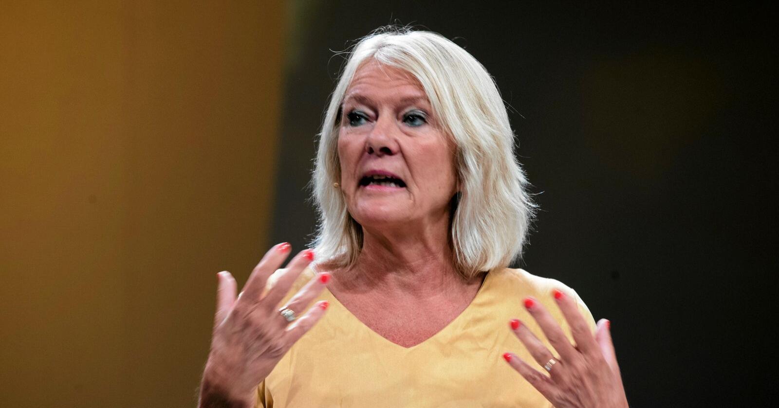 """Civita-leder: """"Det borgerlige samarbeidets mor"""", Kristin Clemet, oppfordrer både regjeringa og Ap til å ta et oppgjør med Sp. Foto: Terje Pedersen / NTB scanpix"""