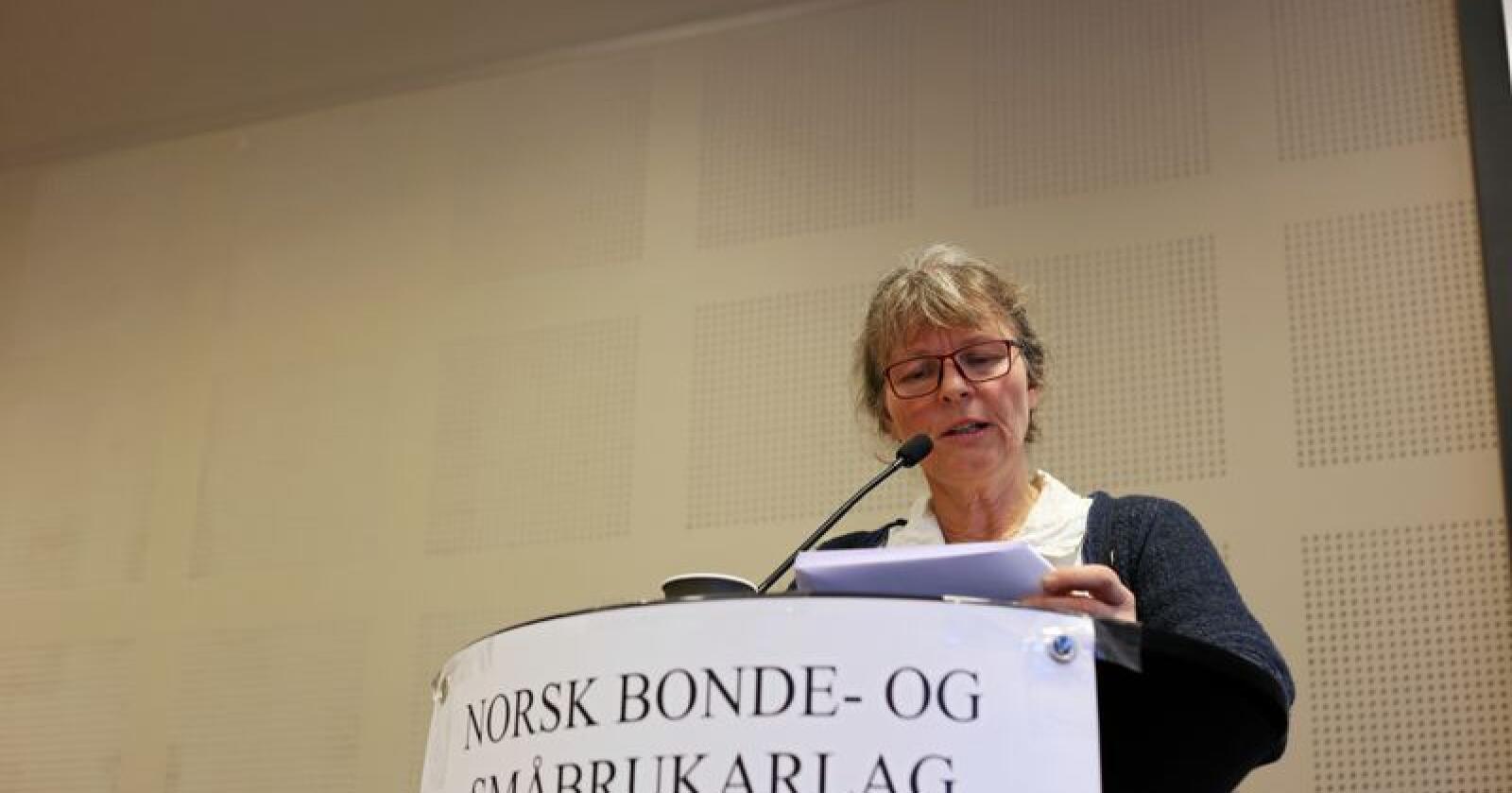 Klar: Kjersti Hoff venter debatt om Småbrukarlagets signatur på jordbrukspolitikken. Foto: Michael Brøndbo