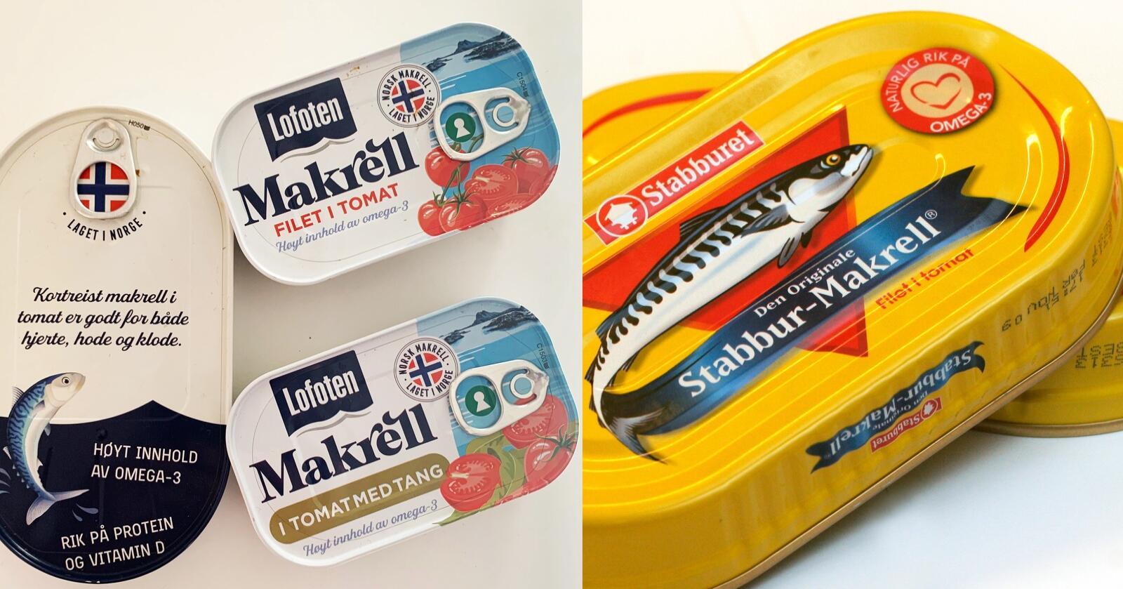 Orkla har saksøkt makrell i tomat-varianten til Lofotprodukt. De mener fiskematselskapet markedsfører produktet under falske forutsetninger med hensyn til Omega 3-innhold og kortreisthet. Foto: Lofotprodukt / NTB