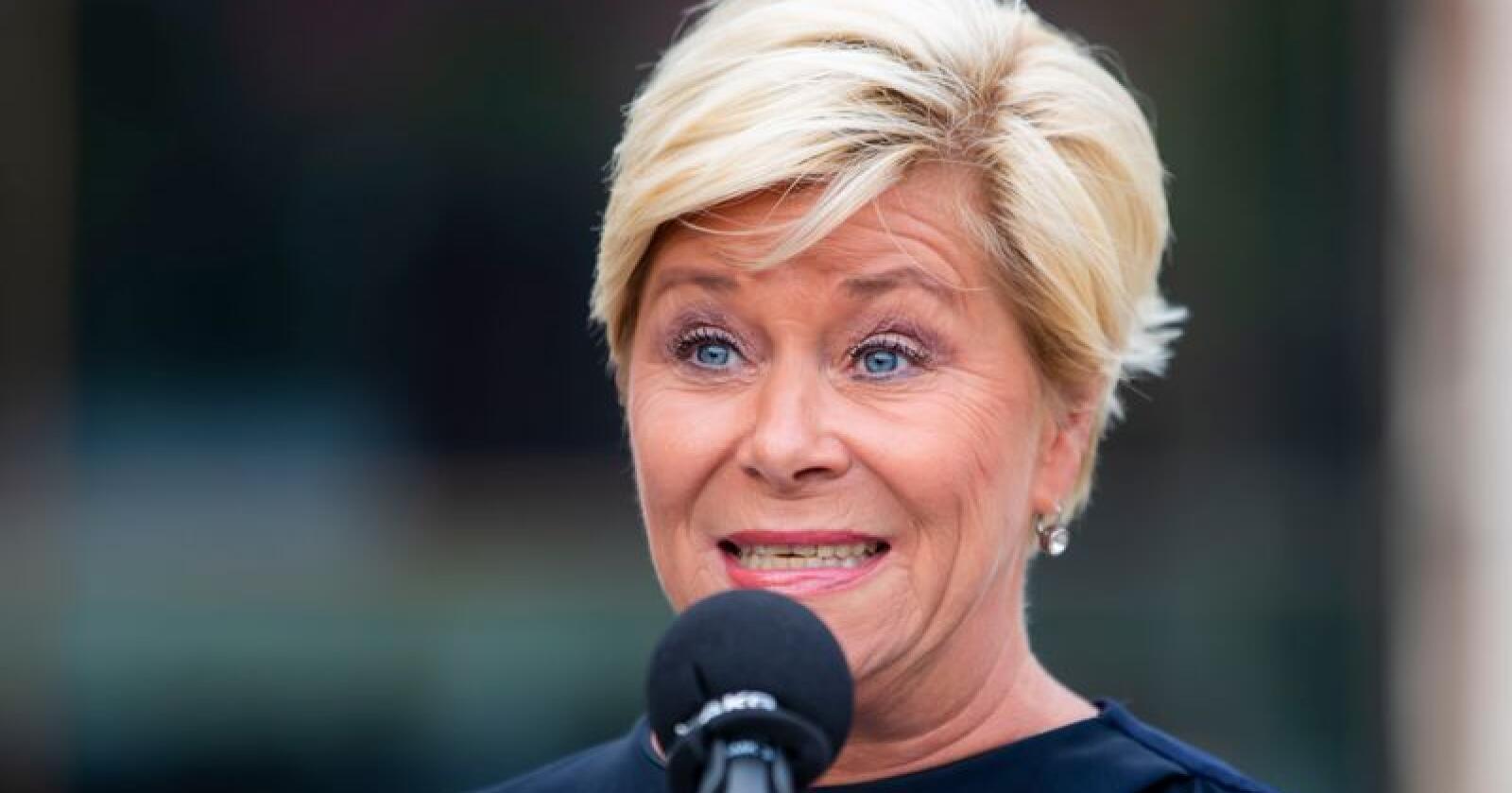 Finansminister Siv Jensen (Frp) skal mandag legge fram regjeringens forslag til statsbudsjettet for 2020. Foto: Håkon Mosvold Larsen / NTB scanpix