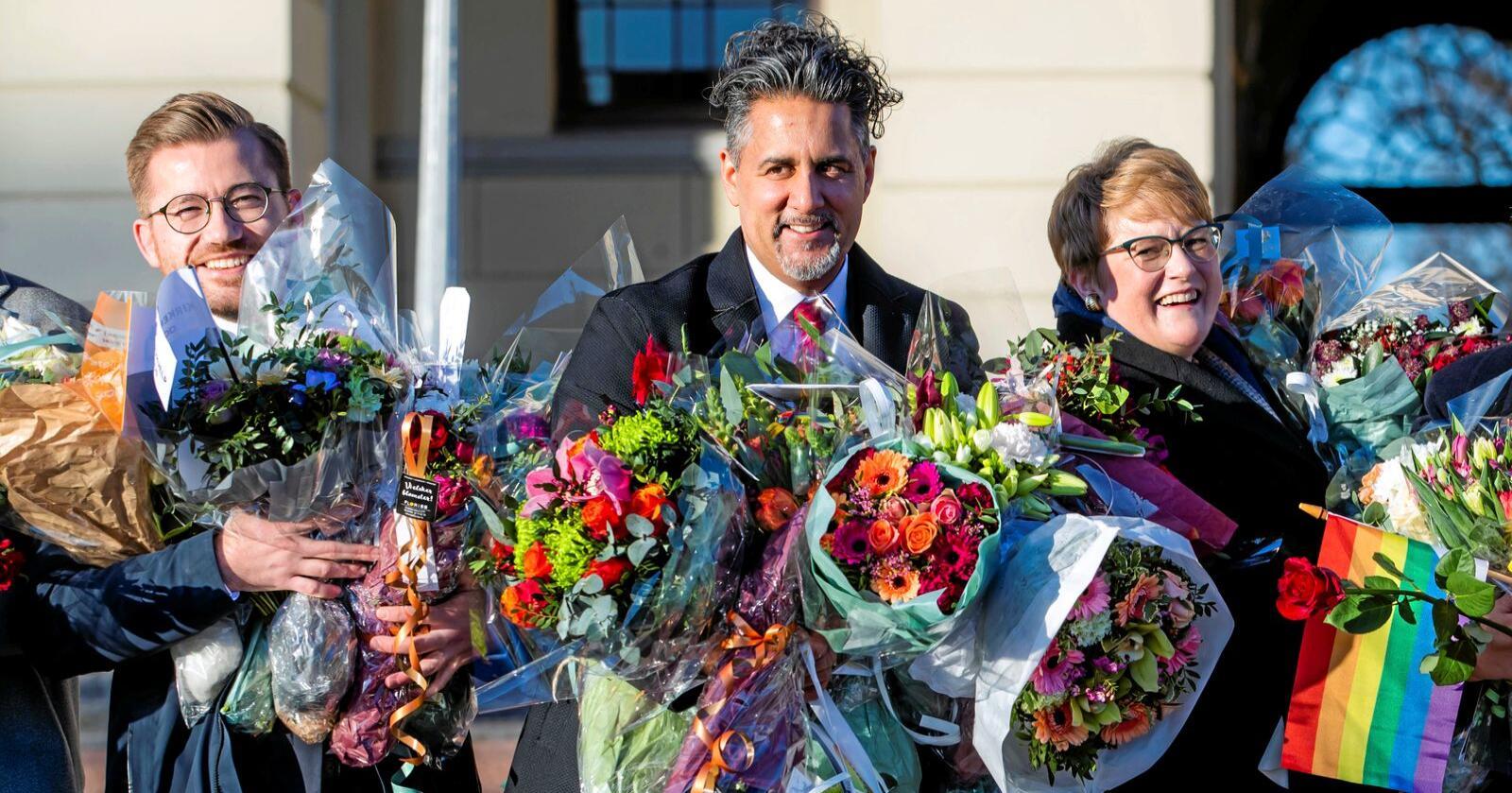 Venstre : Sveinung Rotevatn vil bli leder, Abid Raja tenker på å bli leder, Trine Skei Grande går av som leder for idépartiet, som ligger stabilt under sperregrensa. Foto: Håkon Mosvold Larsen / NTB scanpix