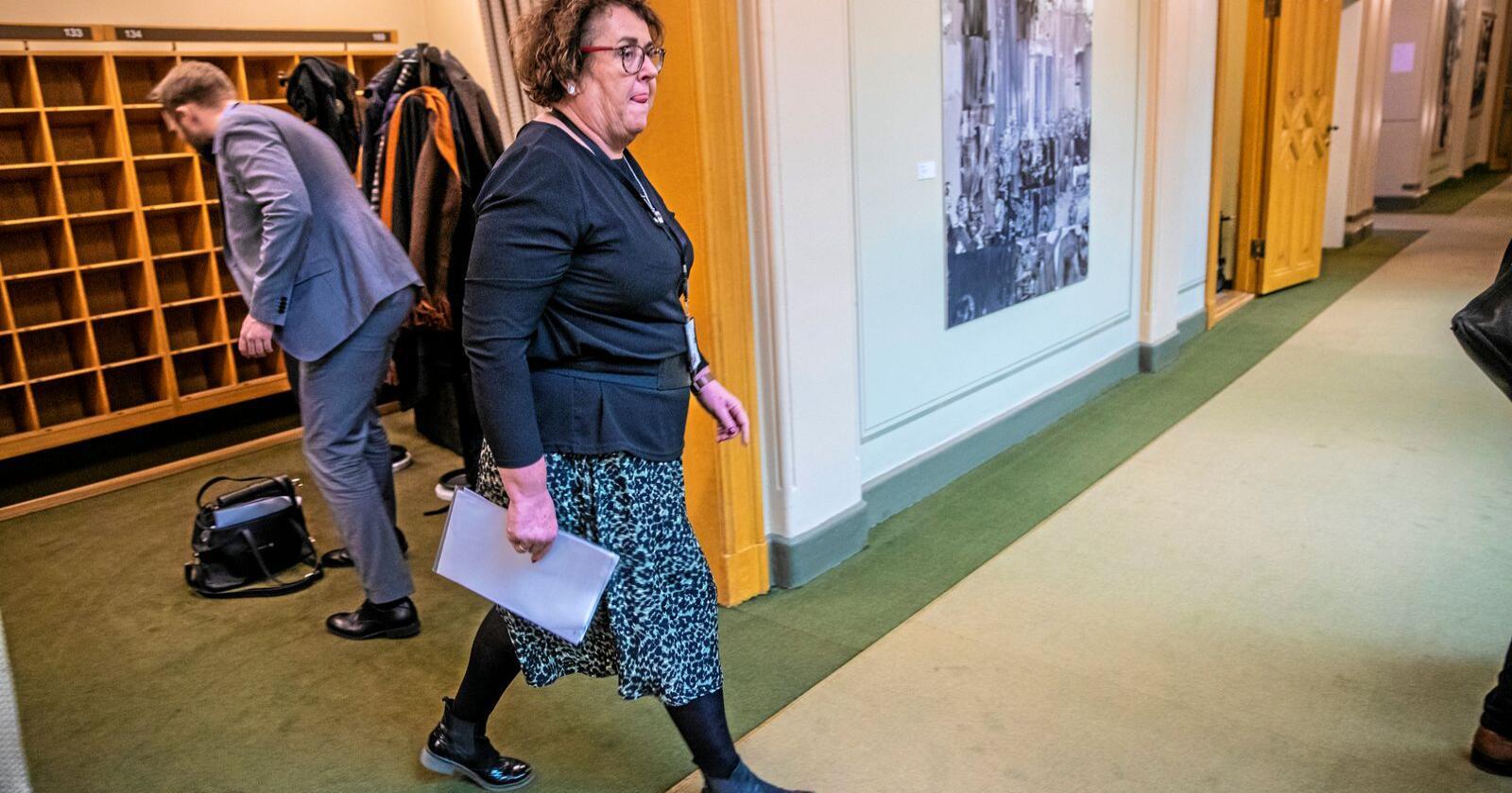 Tar affære: Landbruksminister Olaug Bollestad (KrF) krever endringer i erstatningsordningen for svineprodusenter med LA-MRSA i svinehuset. Foto: Stian Lysberg Solum/NTB scanpix