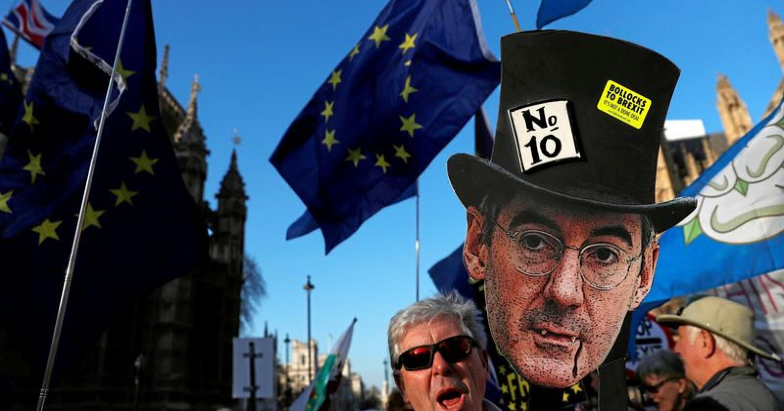 Demonstrasjon mot brexit i London i februar. Foto: Alastair Grant / AP Photo NTB scanpix