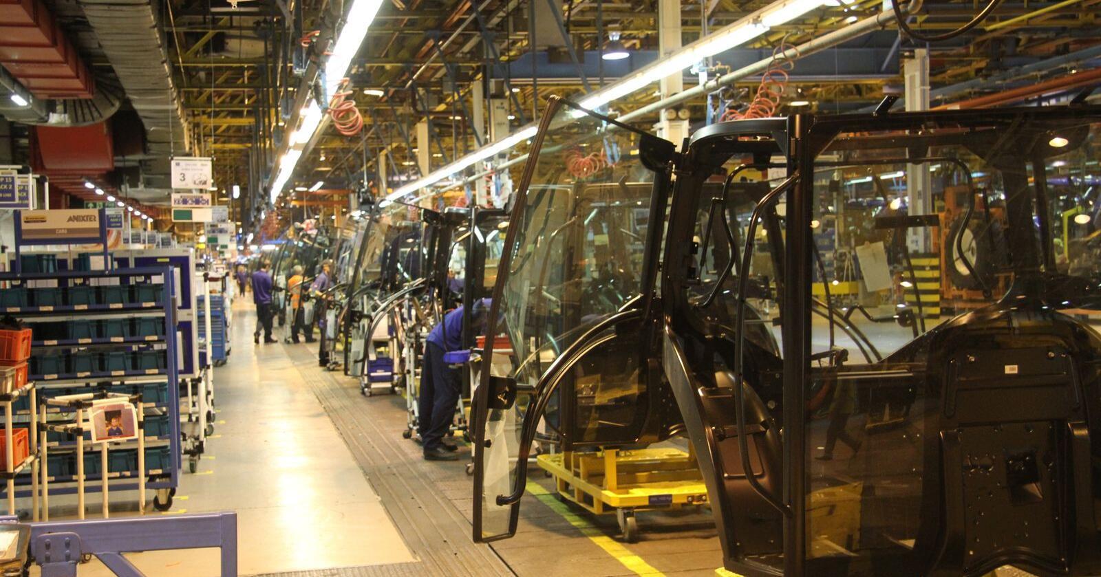 New Holland sin fabrikk i Basildon, England er blant annleggene som nå stenges ned i to uker for å begrense spredningen av Koronaviruset. Arkivfoto: Traktor