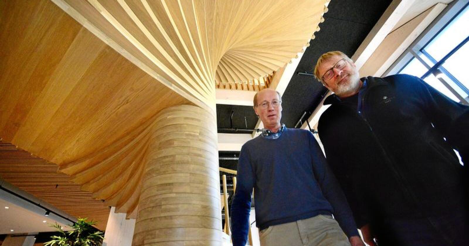 Styrelederne i Glommen Skog, Ole Theodor Holth (t.h) og Terje Uggen i Mjøsen Skog tar nye steg mot sammenslåing. I midten av juni blir det bestemt. Foto: Siri Juell Rasmussen