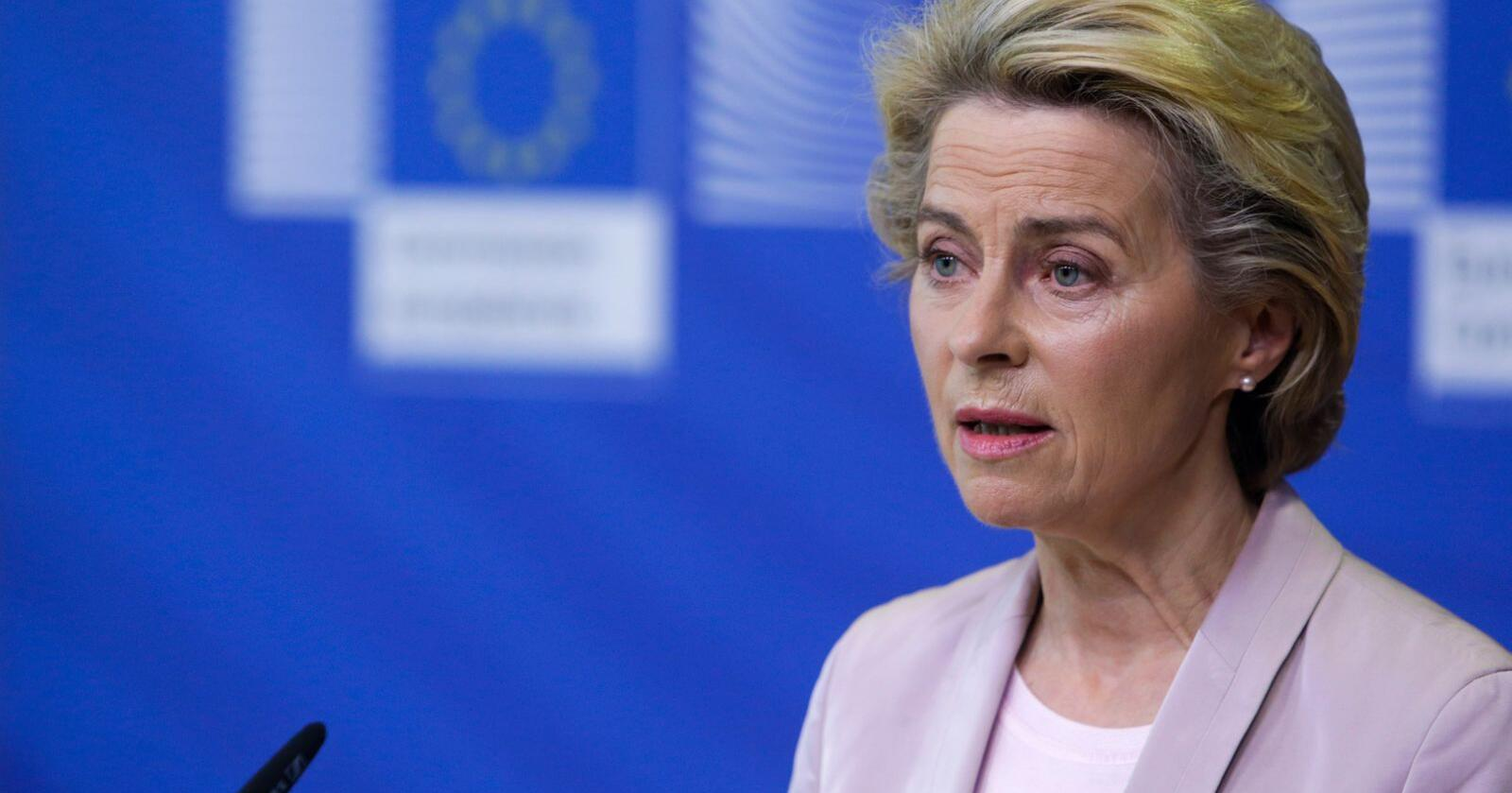 Som ventet tar Ursula von der Leyen til orde for større klimakutt i det kommende tiåret enn det som har vært EUs mål hittil. Foto: Aris Oikonomou / AP / NTB