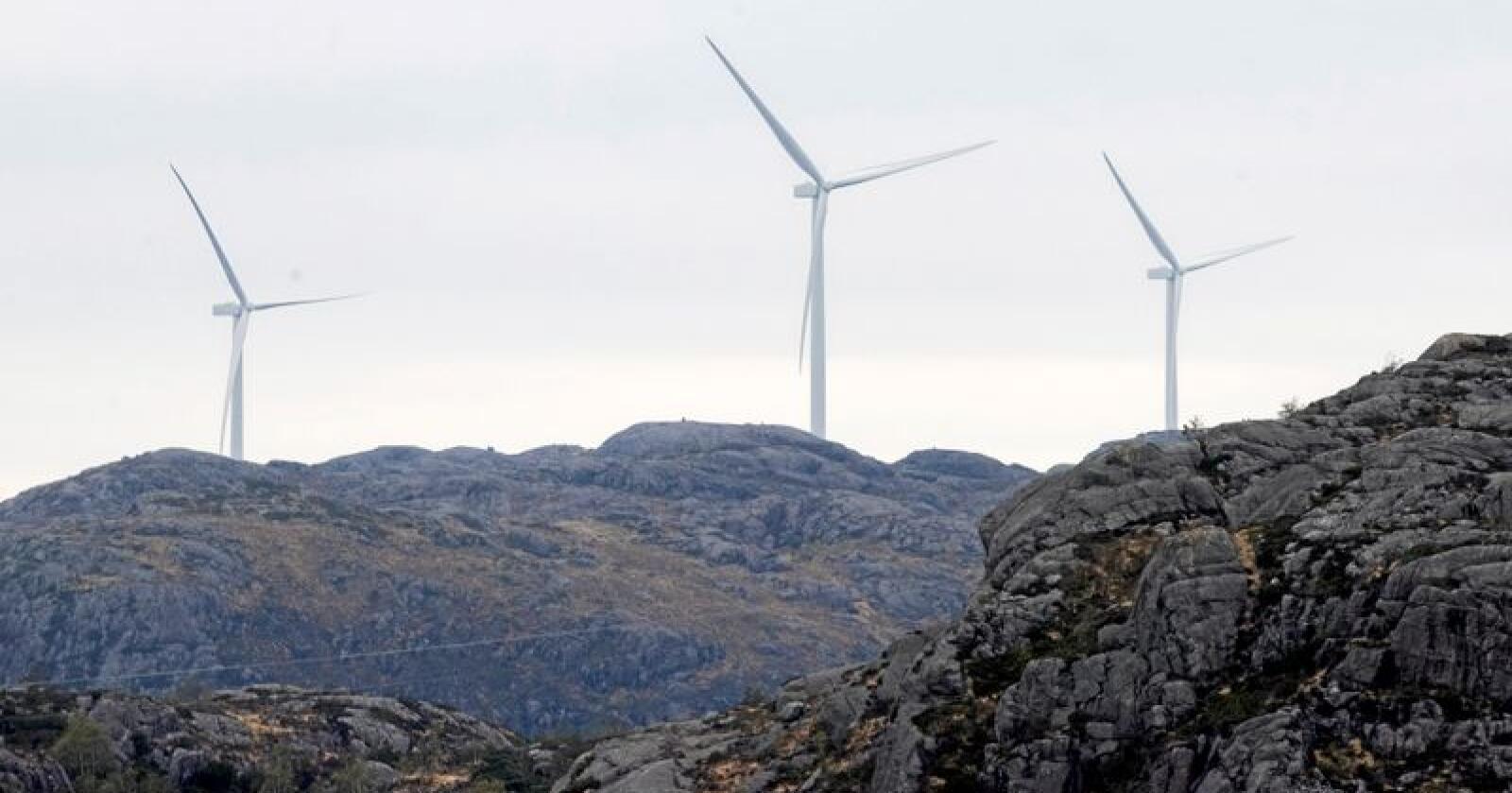 Vindkraft: Vindmøller i Eigersund kommune i Rogaland. Foto: Terje Pedersen/NTB scanpix