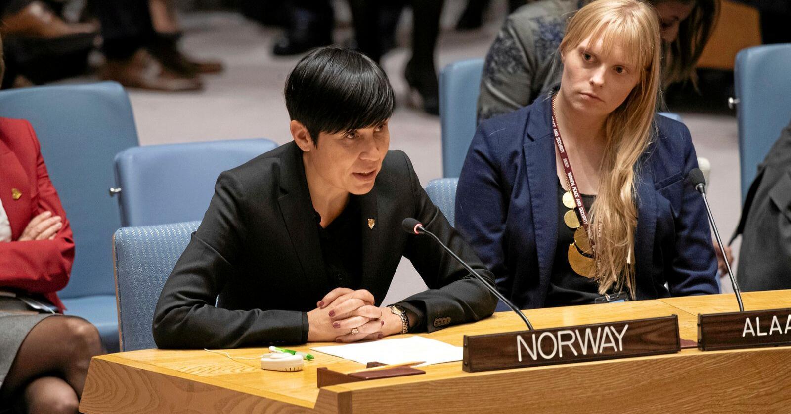 I Sikkerhetsrådet: Norge har fått plass i FNs ikkerhetsråd fra 2021. Da må vi bruke plassen med kløkt. Her snakker utenriksminister Ine Eriksen Søreide til FNs sikkerhetsråd sitt møte i 2019 om kvinner, fred og sikkerhet. Foto: Evan Schneider / UN Photo