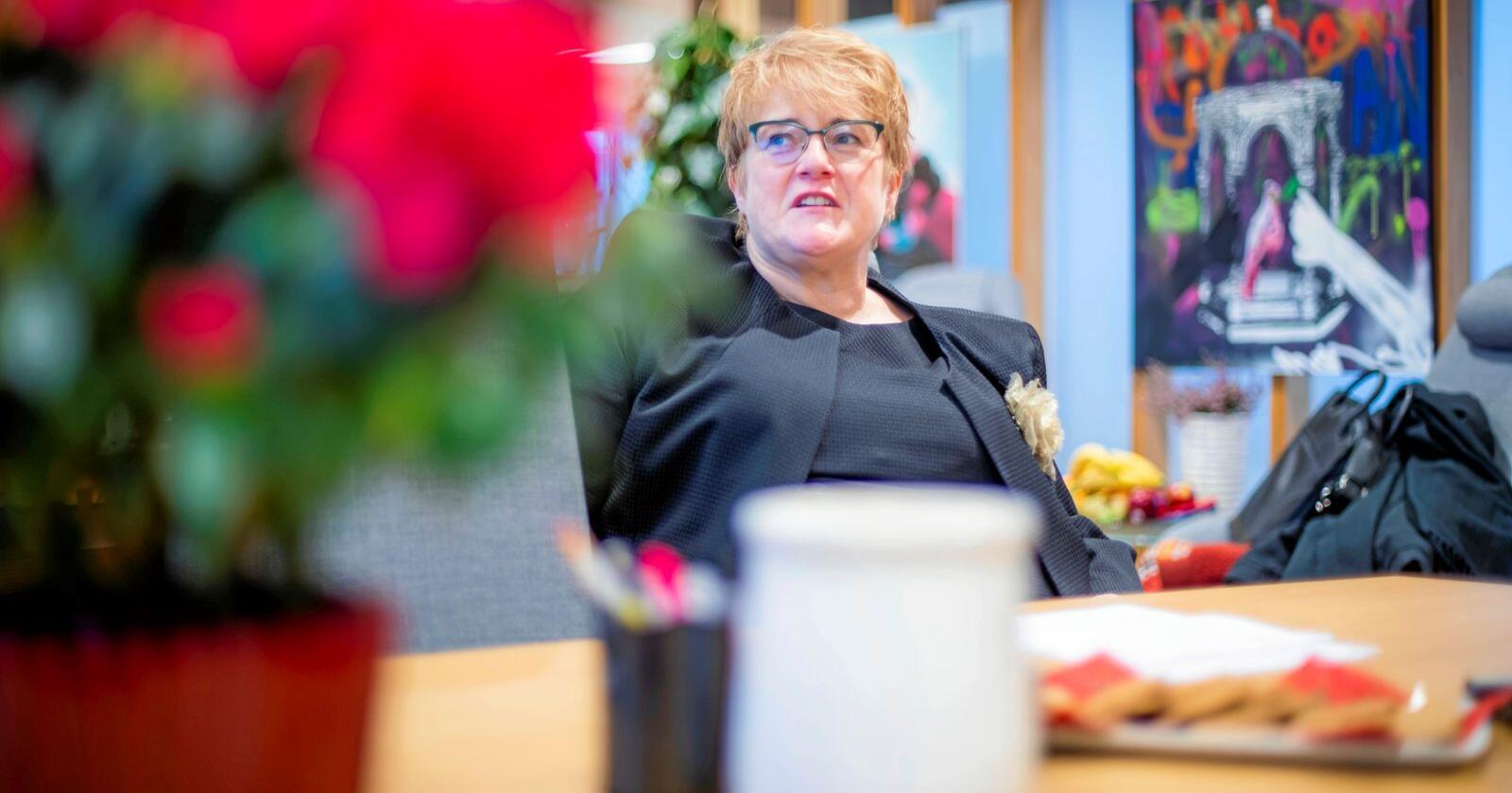 Venstre-leder Trine Skei Grande. Partiet havner langt under sperregrensa på en ny måling. Foto: Håkon Mosvold Larsen / NTB scanpix