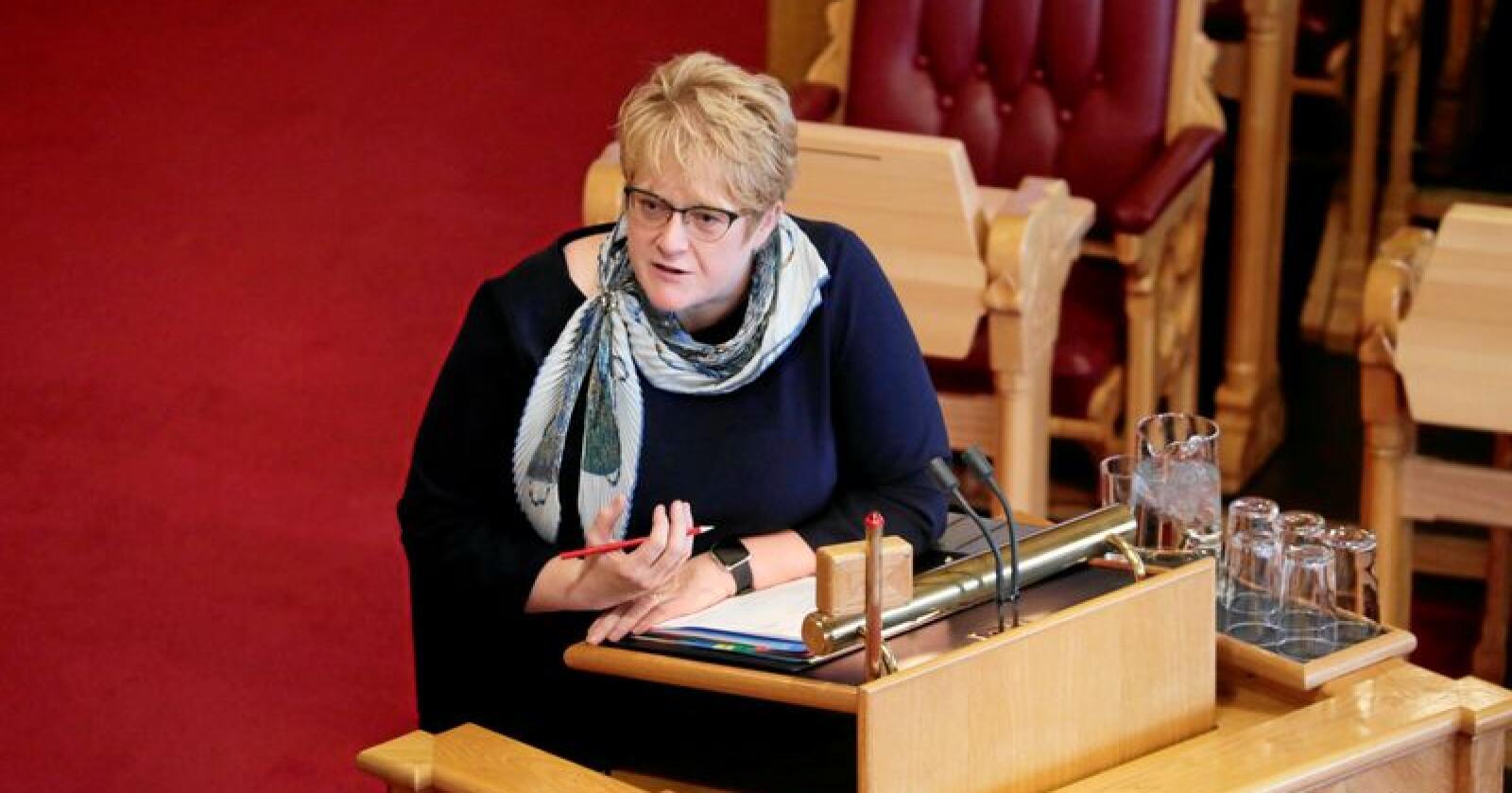 Kulturminister Trine Skei Grande (V) under den muntlige spørretimen i Stortinget onsdag. Foto: Cornelius Poppe / NTB scanpix