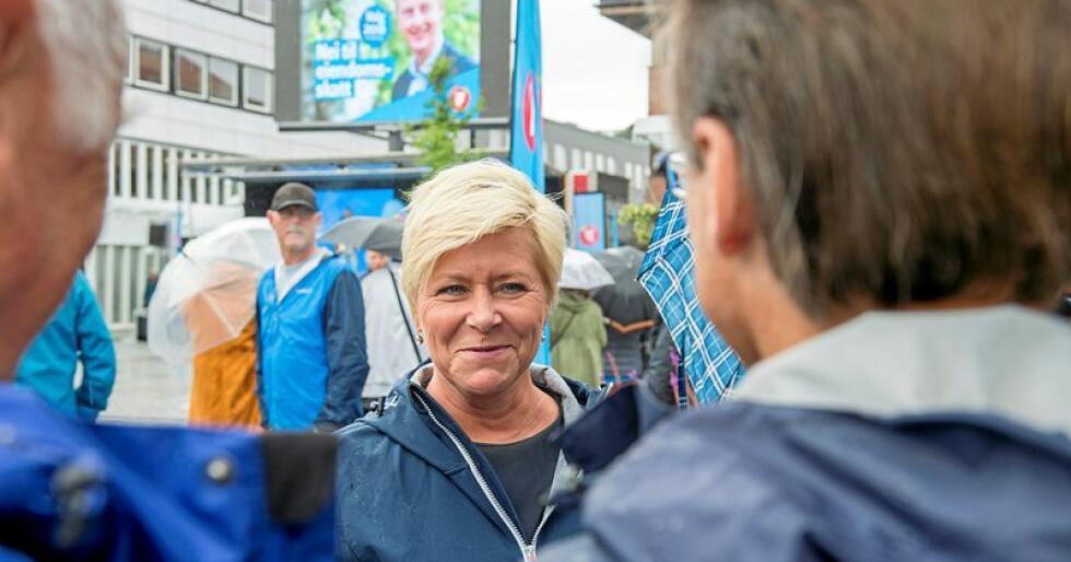 Ved forrige valg fikk Frp nesten 40 prosents oppslutning i Vestlandskommunen Os. Lørdag åpnet Siv Jensen kommunevalgkampen i Frp-bastionen. Foto: Marit Hommedal / NTB scanpix